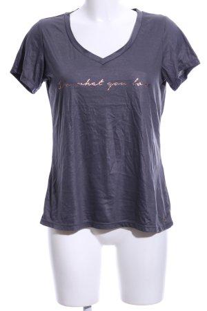 active T-Shirt lila Schriftzug gedruckt Casual-Look
