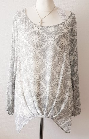 Adagio Blusa de manga larga gris claro-blanco puro