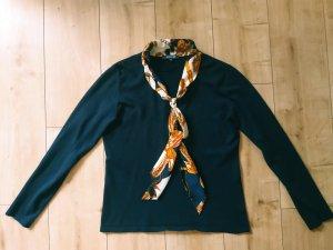ADAGIO Feinstrick Pullover Langarm Herbst Winter Warm Soft Kuschlig Dunkelblau mit Seidentuch M 38