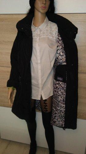 Adagio Pikowany płaszcz czarny-biały Tkanina z mieszanych włókien