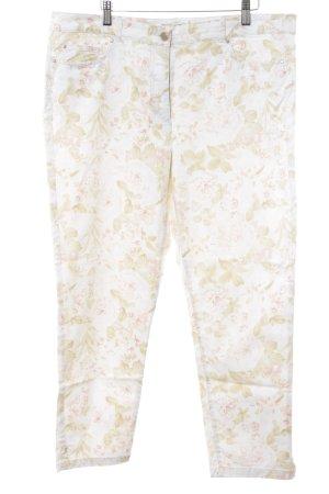 Adagio Pantalon taille basse blanc-vert clair motif de fleur style décontracté
