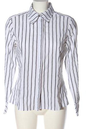 Adagio Chemise à manches longues blanc-noir motif rayé style décontracté