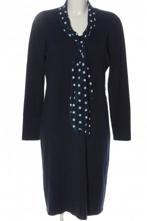 Adagio Midi-jurk blauw-wit gestippeld patroon casual uitstraling