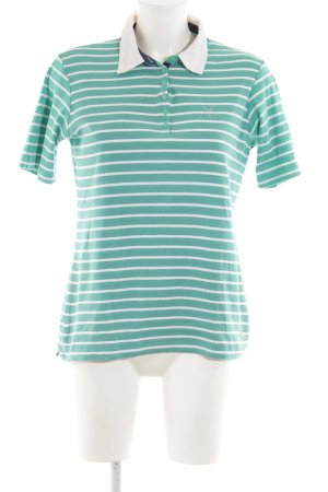 Adagio Polo Shirt green-white striped pattern casual look