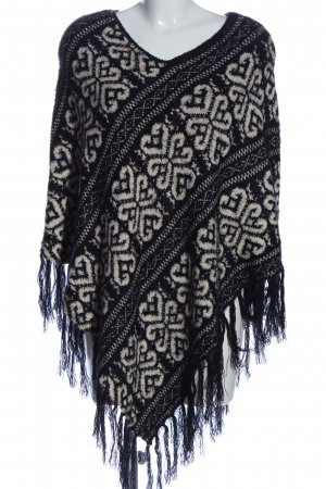 Adagio Poncho black-white graphic pattern casual look