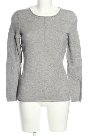 Adagio Kraagloze sweater lichtgrijs gestippeld casual uitstraling