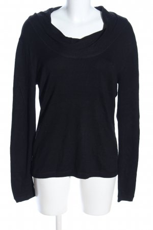 Adagio Kraagloze sweater zwart casual uitstraling