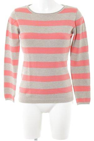Adagio Pull tricoté gris clair-rose motif rayé style décontracté