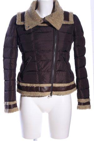 Add Pikowana kurtka brązowy-kremowy Pikowany wzór W stylu casual