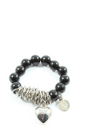 adddress Bracciale di perle nero-argento stile casual