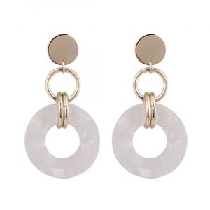 ADELAIDE | Dainty golden resin acetate dangle earrings hangers studs round circle créme white | Acryl Harz Statement Ohrringe beige weiß  size = 4,5 cm x 2,5 cm