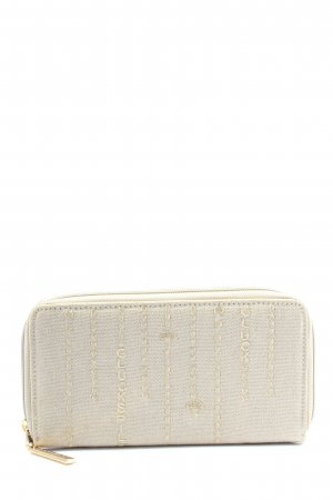 Adelheid Wallet light grey-natural white embroidered lettering casual look
