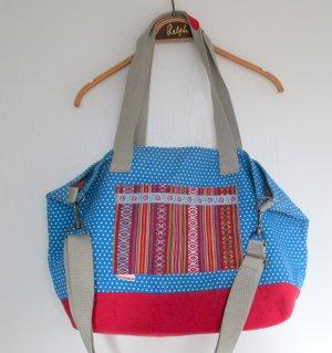 Adelheid Shopper bleu fluo-rouge coton