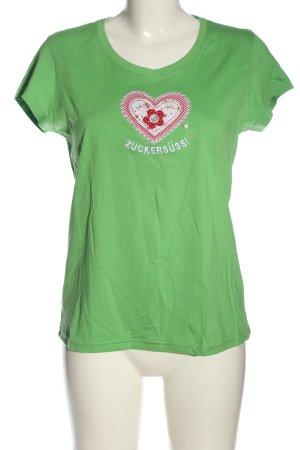 Adelheid T-shirt zielony Nadruk z motywem W stylu casual