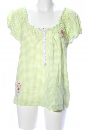 Adelheid Folkloristische blouse sleutelbloem-wit geruite print
