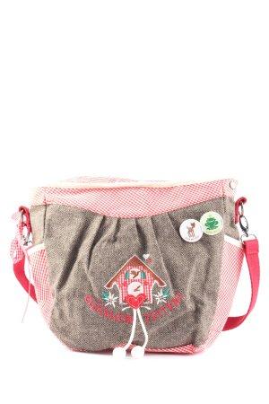 Adelheid Sac bavarois gris clair-rose motif à carreaux style décontracté