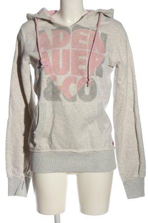 Adenauer & Co Sweatshirt met capuchon lichtgrijs-roze prints met een thema