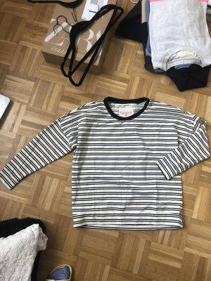 Adenauer & Co Sweatshirt blanc-bleu foncé coton