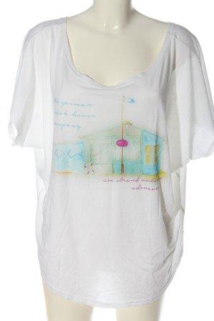 Adenauer & Co T-shirt blanc imprimé avec thème style décontracté