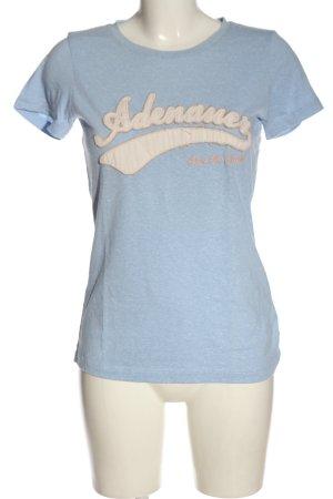 Adenauer & Co T-shirt blu-bianco sporco puntinato stile casual