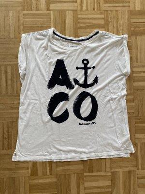 Adenauer & Co T-shirt blanc-bleu foncé coton
