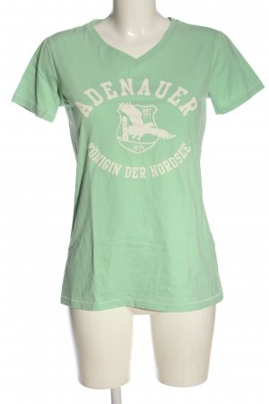 Adenauer & Co T-shirt col en V vert-crème imprimé avec thème