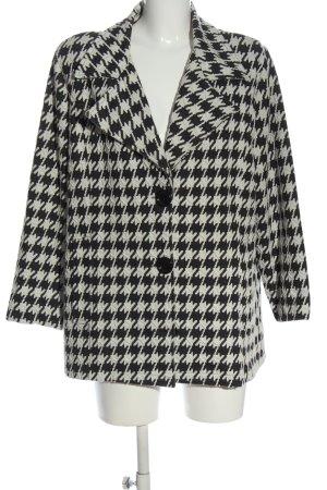 AdeT Manteau court noir-blanc imprimé allover style d'affaires