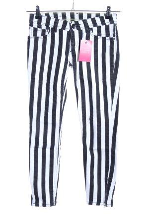 Adidas 7/8 Jeans weiß-schwarz Streifenmuster Casual-Look
