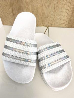 Adidas Sandalias de playa blanco-color plata