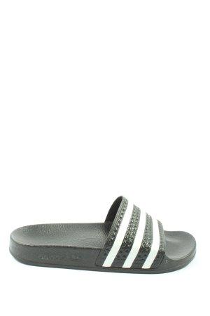 Adidas Badeslipper schwarz-weiß Streifenmuster schlichter Stil