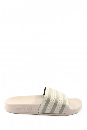 Adidas Pool Slider natural white-khaki striped pattern casual look