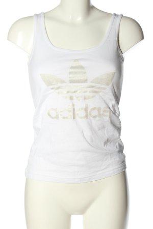 Adidas Top basic biały-złoto Nadruk z motywem W stylu casual