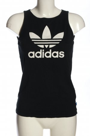 Adidas Top basic nero-bianco Stampa a tema stile casual