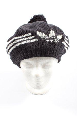 Adidas Baskenmütze schwarz-weiß Motivdruck Casual-Look