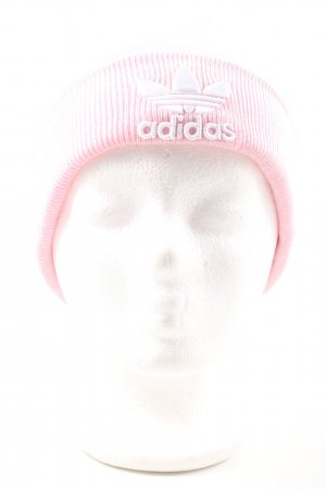 Adidas Bonnet rose-blanc lettrage imprimé style décontracté