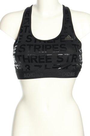 Adidas BH schwarz Schriftzug gedruckt sportlicher Stil