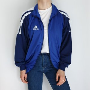 Adidas blau Trainigsjacke True Vintage weiß Pulli Pullover Jacke Hoodie strickjacke cardigan mantel trenchcoat Oversize