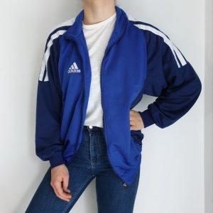 Adidas blau weiß True Vintage Pulli Pullover Jacke Trainigsjacke Hoodie Sweater Oversize