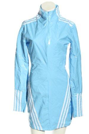 Adidas Bleistiftkleid blau Streifenmuster Glanz-Optik
