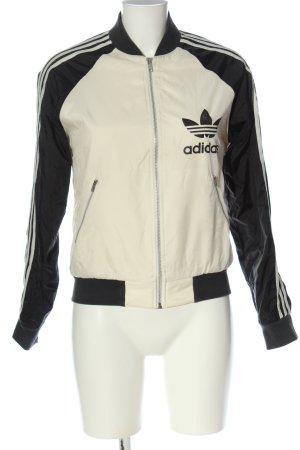 Adidas Bomberjacke wollweiß-schwarz Schriftzug gedruckt Casual-Look