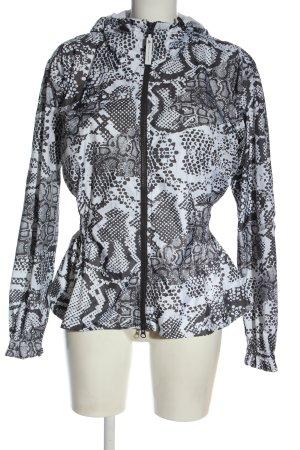 Adidas by Stella McCartney Jack met capuchon zwart-wit abstract patroon