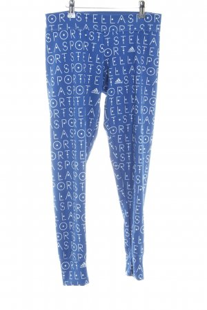 Adidas by Stella McCartney Legging bleu acier-blanc lettrage imprimé