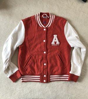Adidas Chaqueta estilo universitario blanco-rojo Algodón