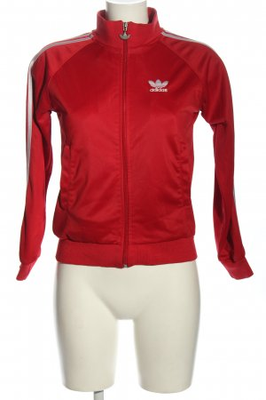 Adidas Giacca fitness rosso motivo a righe stile atletico