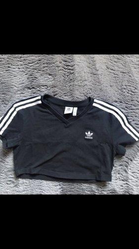 Adidas Koszula o skróconym kroju czarny-biały