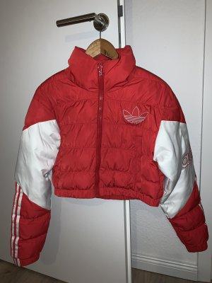 Adidas Cropped Puffer Jacke Rot Weiß Kurze Winterjacke Steppjacke Neu
