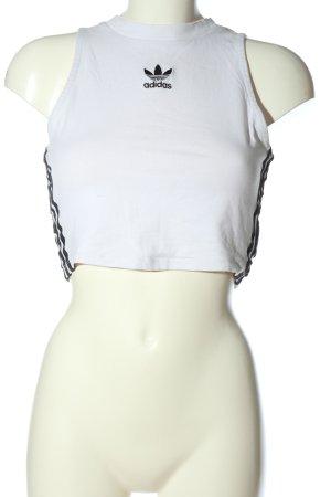 Adidas Crop-top blanc-noir lettrage brodé style décontracté