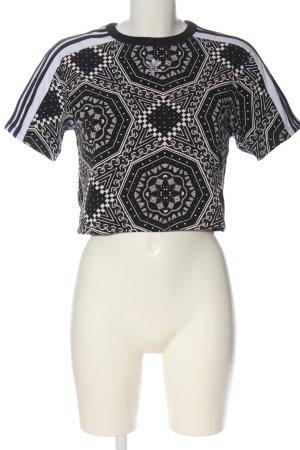 Adidas Cropped Shirt schwarz-weiß Allover-Druck Casual-Look