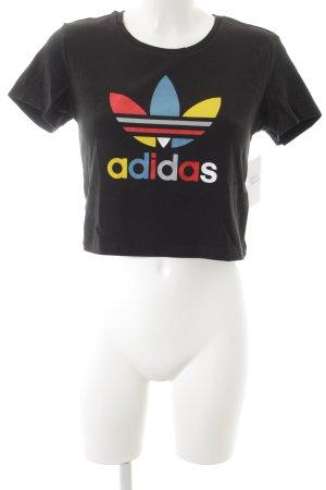 Adidas Cropped Shirt schwarz Schriftzug gedruckt Street-Fashion-Look