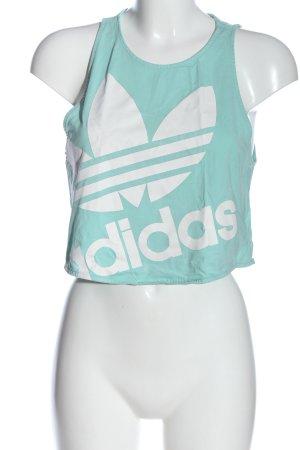 Adidas Cropped Top hellgrau-weiß Schriftzug gedruckt Casual-Look